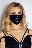 Noir - fényes maszk fém gyűrűvel (fekete)