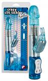 Crazy - forgó gyöngyös, nyuszis vibrátor (kék)